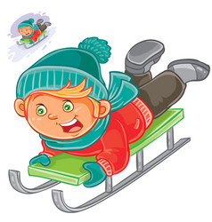 little child slides on a sled vector image