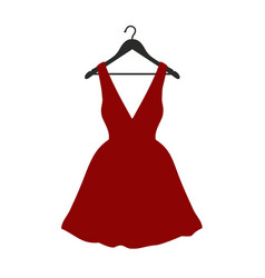 Little red dress on black clothes hanger vector