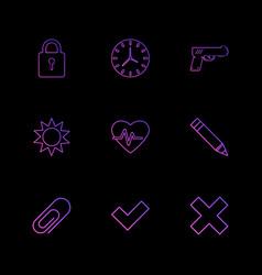 Lock clock gun sun heart pen pin wrong vector