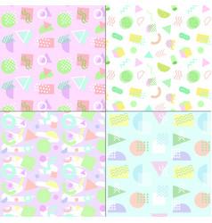 memphis style pastel patterns vector image