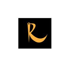 Needle logo initial r black background design vector