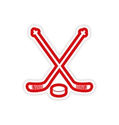 Paper sticker hockey sticks and puck on white vector