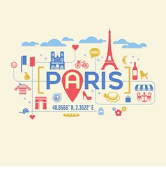 Paris France icons and typography design vector