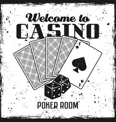 poker emblem with playing cards and dice vector image