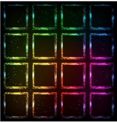 Rainbow neon squares abstract background vector image