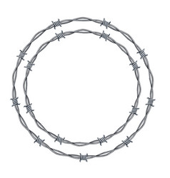 Realistic 3d detailed barbed wire frames set vector