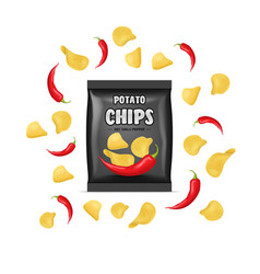 realistic detailed 3d chips advertisement bag vector image