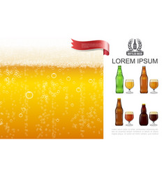 realistic frothy lager beer concept vector image