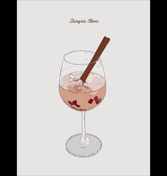 Sangria blanc cocktail pomeganate cinnamon vector