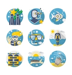 Sea leisure colored detailed flat icons set vector image