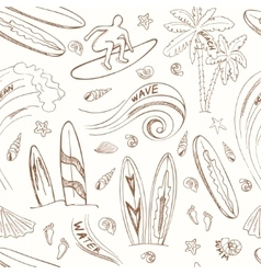 seamless pattern with doodle sketch Surfing sport vector image
