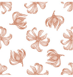 Seamless pattern with hand drawn pastel champak vector