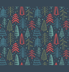Seamless pattern with ornate christmas trees vector