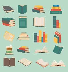 set books in flat design collection vector image