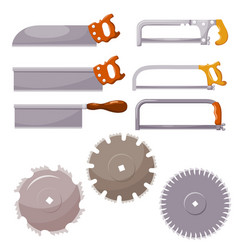 set metal saws on a white background hand vector image