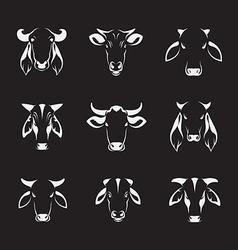 Set of cow head vector