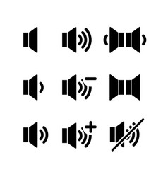 set of simple black icons of sound volume on white vector image