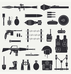 Silhouette line flat military icon set vector