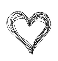 Simple heart black and white children hand vector