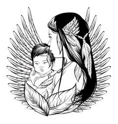 Skvo woman with child and feather hand drawn line vector