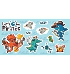Sticker set of underwater pirates in cartoon style vector