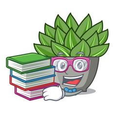 Student with book cartoon echeveria cactus in vector