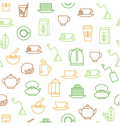 tea related seamless pattern background vector image