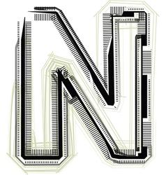 Technological font LETTER N vector