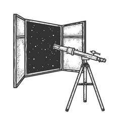 telescope and open window sketch vector image