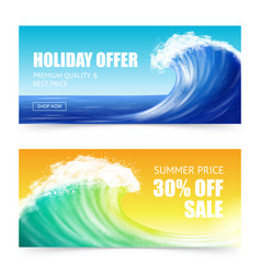 Vacation offer and big wave banners vector