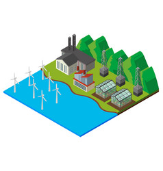 Wind turbines and greenhouse in the field vector