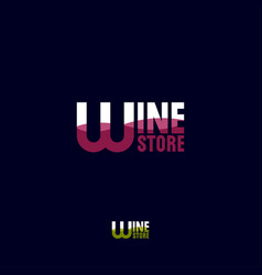 wine store logo letters wave pour into wineglass vector image