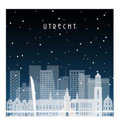 winter night in utrecht night city in flat style vector image