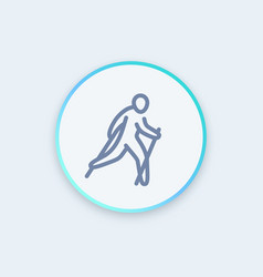nordic walking icon in linear style vector image