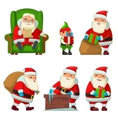 Santa claus and elf vector