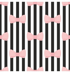 Tile black white pink pattern with bows vector image