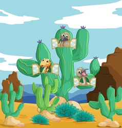 various animals and cactus vector image vector image