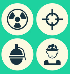 army icons set collection of bombshell military vector image