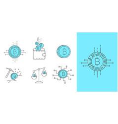 digital money bitcoin concept icon set vector image vector image