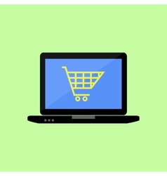 Flat style laptop with shopping cart vector image vector image