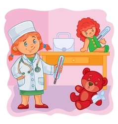 Little girl doctor treats their toys vector