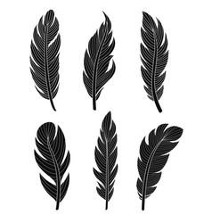 set of six elegant silhouette vector image vector image