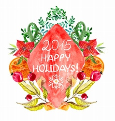 Watercolor beautiful Christmas card vector image vector image