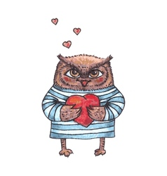 cute owl with heart watercolor character vector image