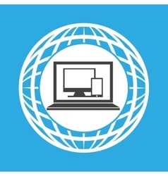 globe computer technology communication vector image
