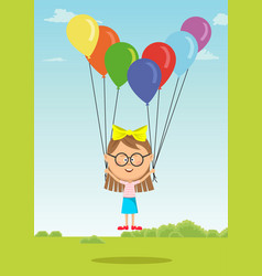 little girl with glasses flying with balloons vector image vector image