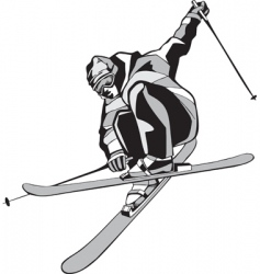 mountain skier silhouette vector image vector image