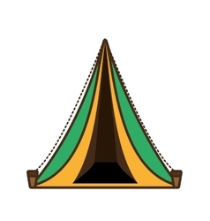 triangle tent tourism travel yellow and green vector image vector image