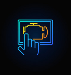 Blue car engine diagnostics via tablet vector