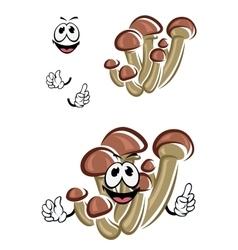 Cartoon honey agaric mushrooms character vector image